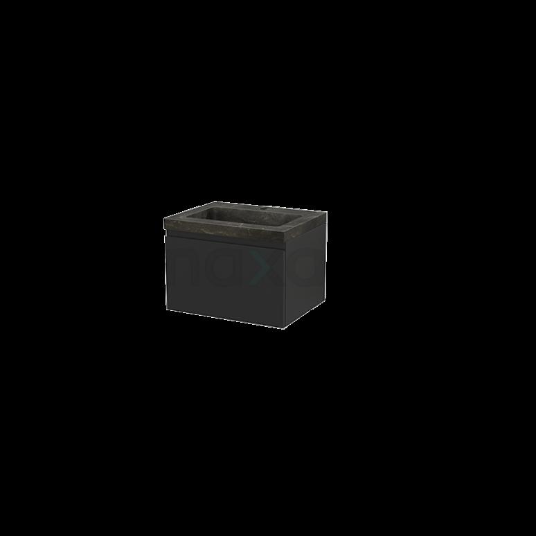 Badkamermeubel 60cm Modulo+ Carbon 1 Lade Greeploos Wastafel Natuursteen Blue Stone