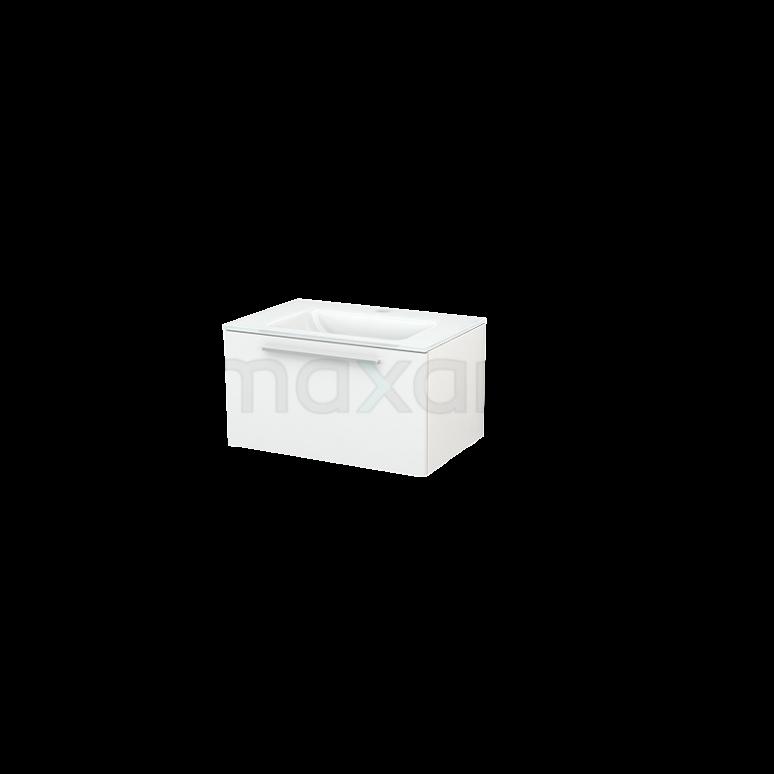 Badkamermeubel 70cm Modulo+ Hoogglans Wit 1 Lade Vlak Wastafel Glas