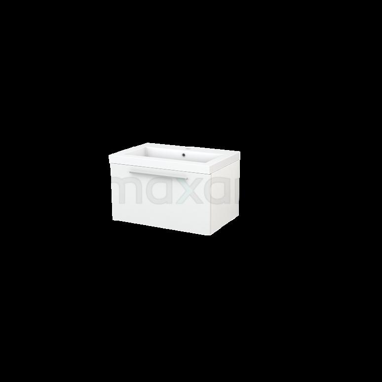Badkamermeubel 70cm Modulo+ Hoogglans Wit 1 Lade Vlak Wastafel Mineraalmarmer