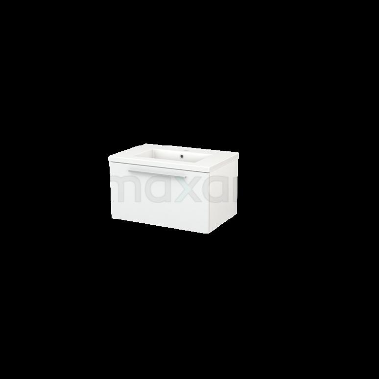 Badkamermeubel 70cm Modulo+ Hoogglans Wit 1 Lade Vlak Wastafel Keramiek