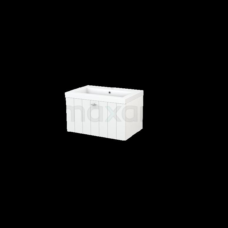 Badkamermeubel 70cm Modulo+ Hoogglans Wit 1 Lade Lamel Wastafel Mineraalmarmer