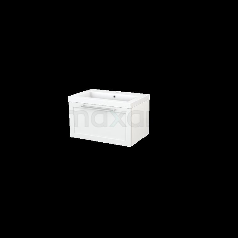 Badkamermeubel 70cm Modulo+ Hoogglans Wit 1 Lade Kader Wastafel Mineraalmarmer
