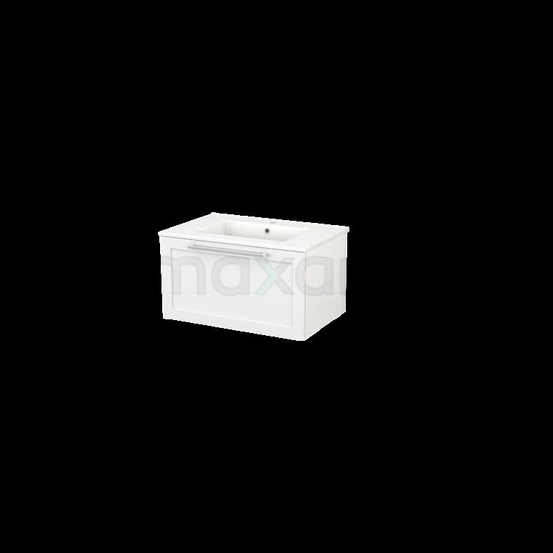 Badkamermeubel 70cm Modulo+ Hoogglans Wit 1 Lade Kader Wastafel Keramiek