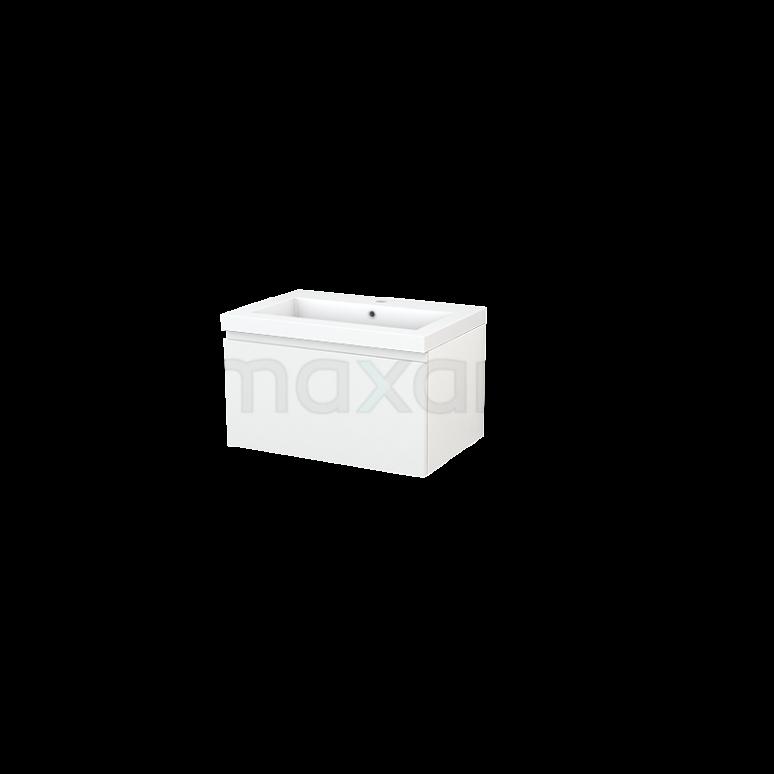 Badkamermeubel 70cm Modulo+ Hoogglans Wit 1 Lade Greeploos Wastafel Mineraalmarmer