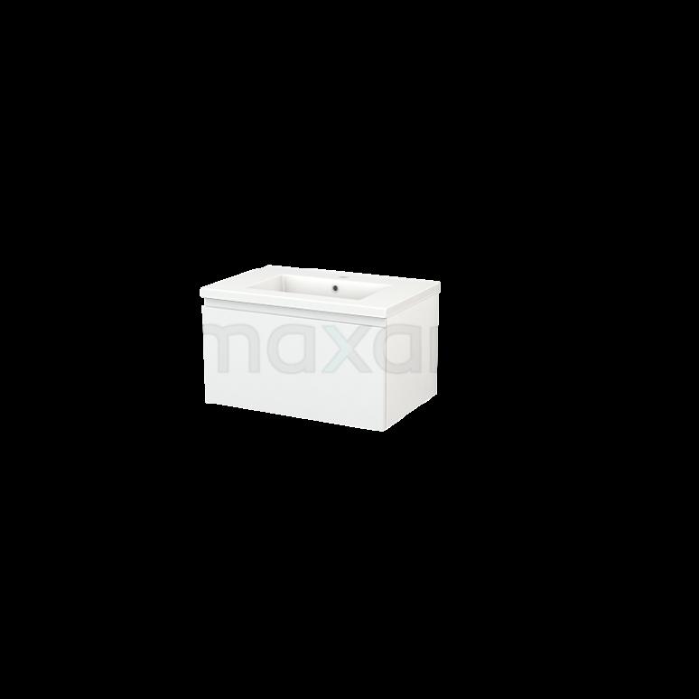 Badkamermeubel 70cm Modulo+ Hoogglans Wit 1 Lade Greeploos Wastafel Keramiek