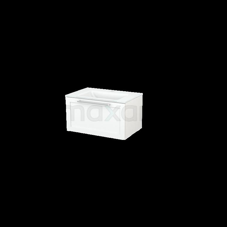 Badkamermeubel 70cm Modulo+ Mat Wit 1 Lade Kader Wastafel Glas