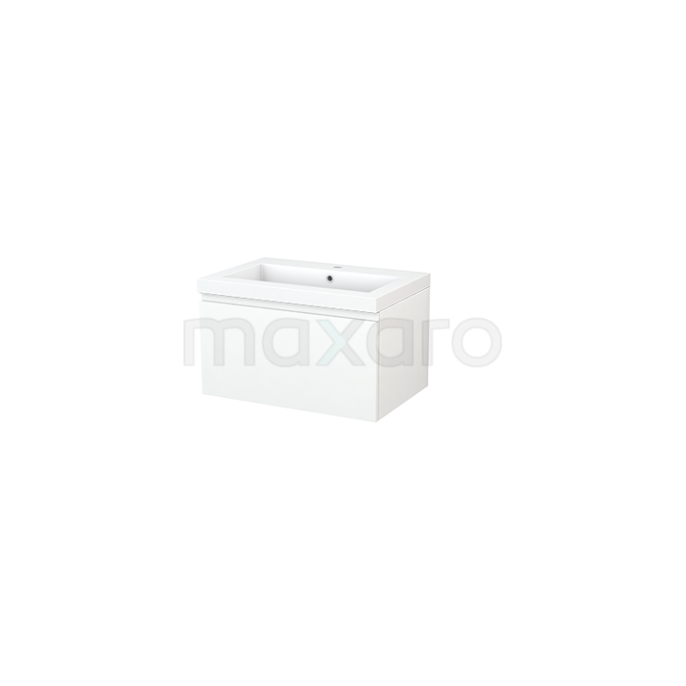 Badkamermeubel 70cm Modulo+ Mat Wit 1 Lade Greeploos Wastafel Mineraalmarmer