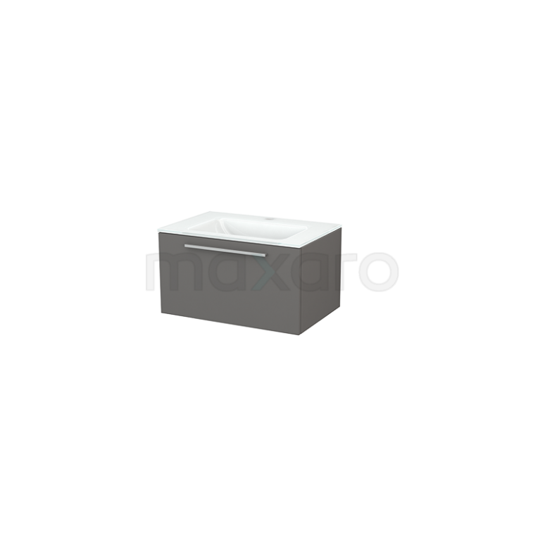 Badkamermeubel 70cm Modulo+ Basalt 1 Lade Vlak Wastafel Glas