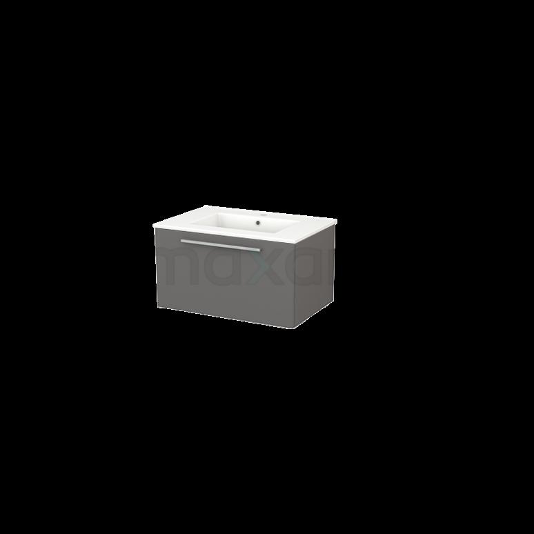 Badkamermeubel 70cm Modulo+ Basalt 1 Lade Vlak Wastafel Keramiek