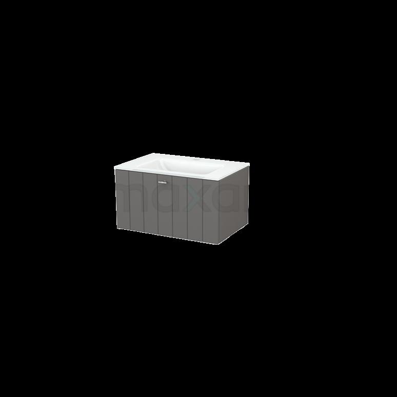 Badkamermeubel 70cm Modulo+ Basalt 1 Lade Lamel Wastafel Glas