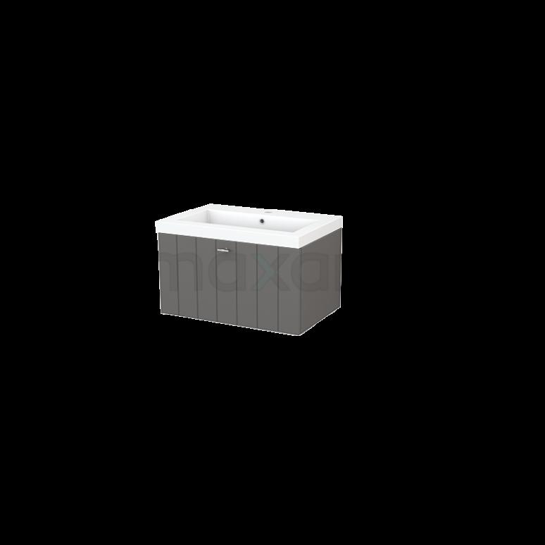 Badkamermeubel 70cm Modulo+ Basalt 1 Lade Lamel Wastafel Mineraalmarmer