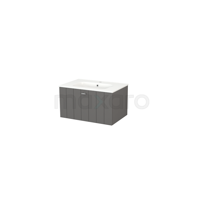 Badkamermeubel 70cm Modulo+ Basalt 1 Lade Lamel Wastafel Keramiek