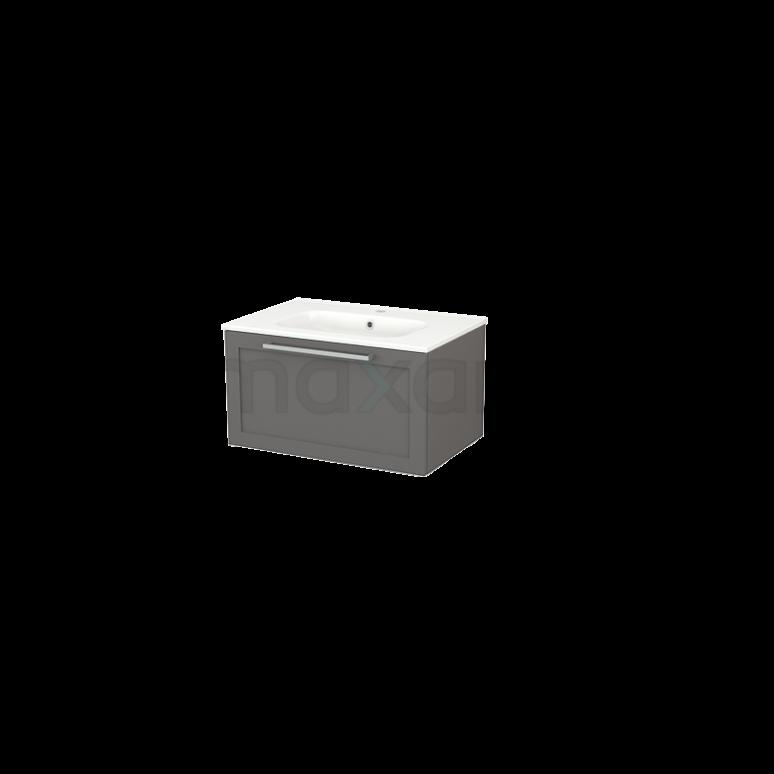 Badkamermeubel 70cm Modulo+ Basalt 1 Lade Kader Wastafel Keramiek