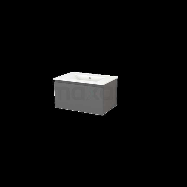 Badkamermeubel 70cm Modulo+ Basalt 1 Lade Greeploos Wastafel Keramiek