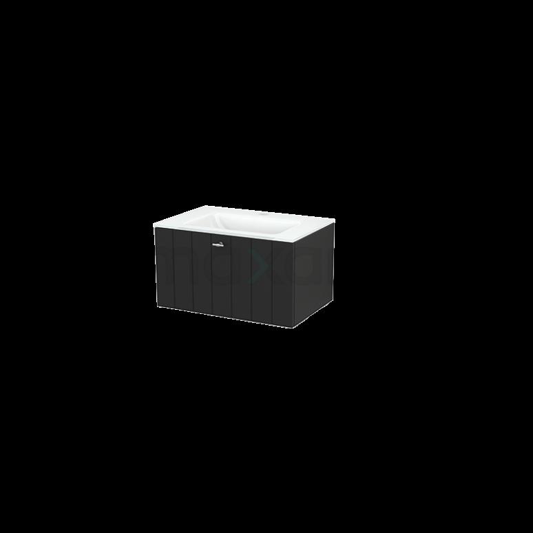 Badkamermeubel 70cm Modulo+ Carbon 1 Lade Lamel Wastafel Glas
