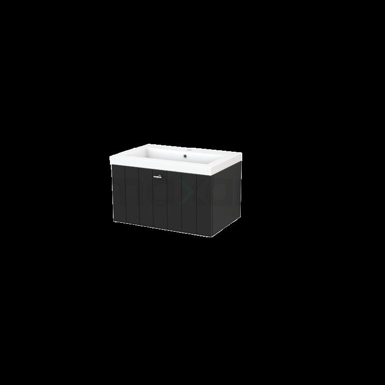 Badkamermeubel 70cm Modulo+ Carbon 1 Lade Lamel Wastafel Mineraalmarmer