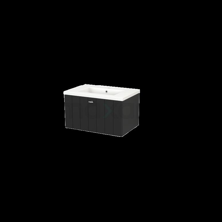 Badkamermeubel 70cm Modulo+ Carbon 1 Lade Lamel Wastafel Keramiek