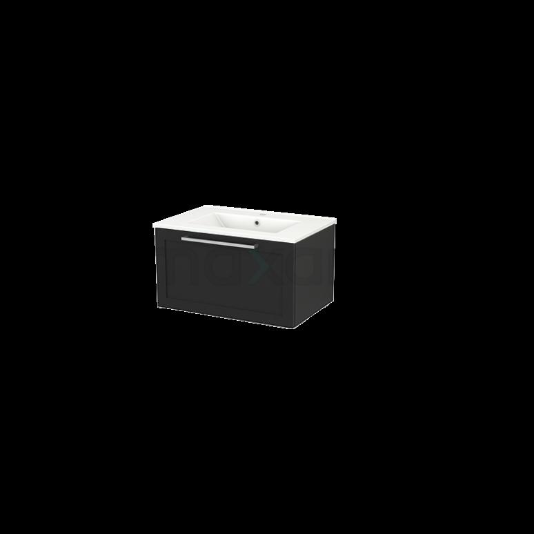 Badkamermeubel 70cm Modulo+ Carbon 1 Lade Kader Wastafel Keramiek
