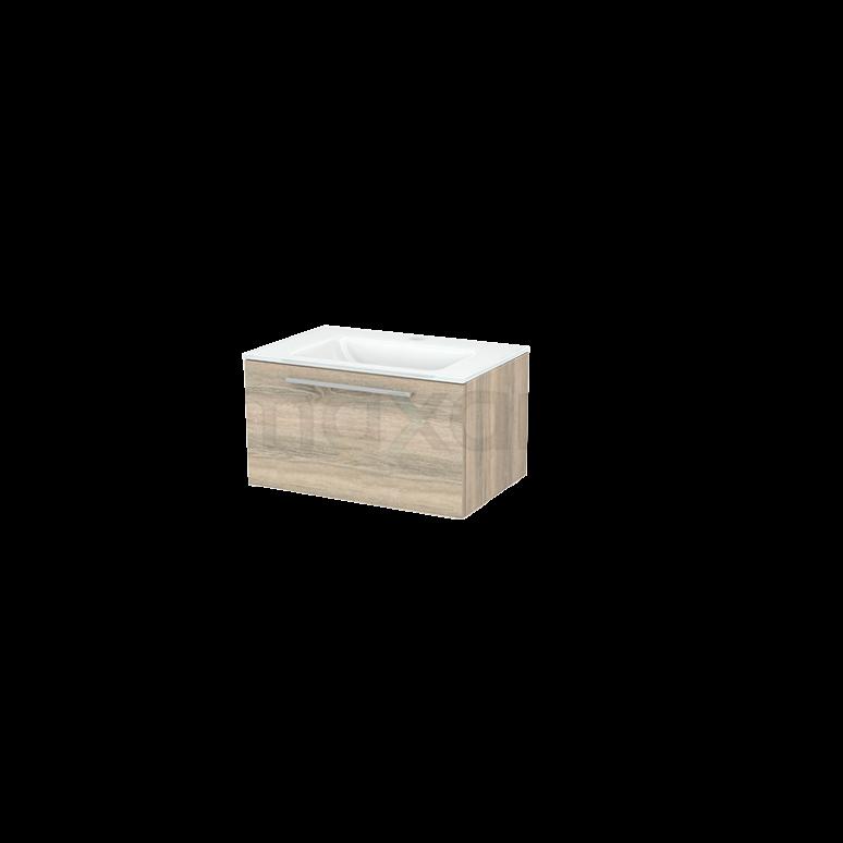 Badkamermeubel 70cm Modulo+ Eiken 1 Lade Vlak Wastafel Glas