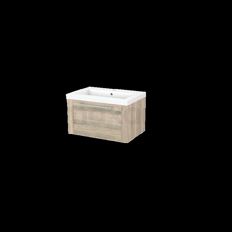 Badkamermeubel 70cm Modulo+ Eiken 1 Lade Kader Wastafel Mineraalmarmer