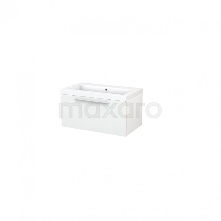 Badkamermeubel 80cm Modulo+ Hoogglans Wit 1 Lade Vlak Wastafel Mineraalmarmer