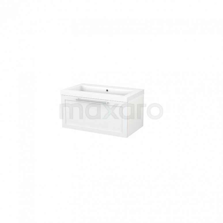 Badkamermeubel 80cm Modulo+ Hoogglans Wit 1 Lade Kader Wastafel Mineraalmarmer