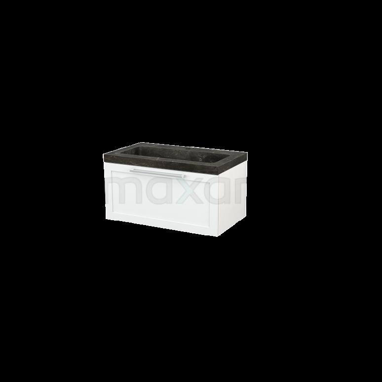 Badkamermeubel 80cm Modulo+ Hoogglans Wit 1 Lade Kader Wastafel Natuursteen Blue Stone