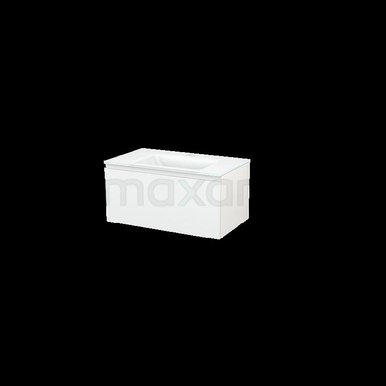 Maxaro Modulo+ BMP001404 Badkamermeubel 80cm Modulo+ Hoogglans Wit 1 Lade Greeploos Wastafel Glas