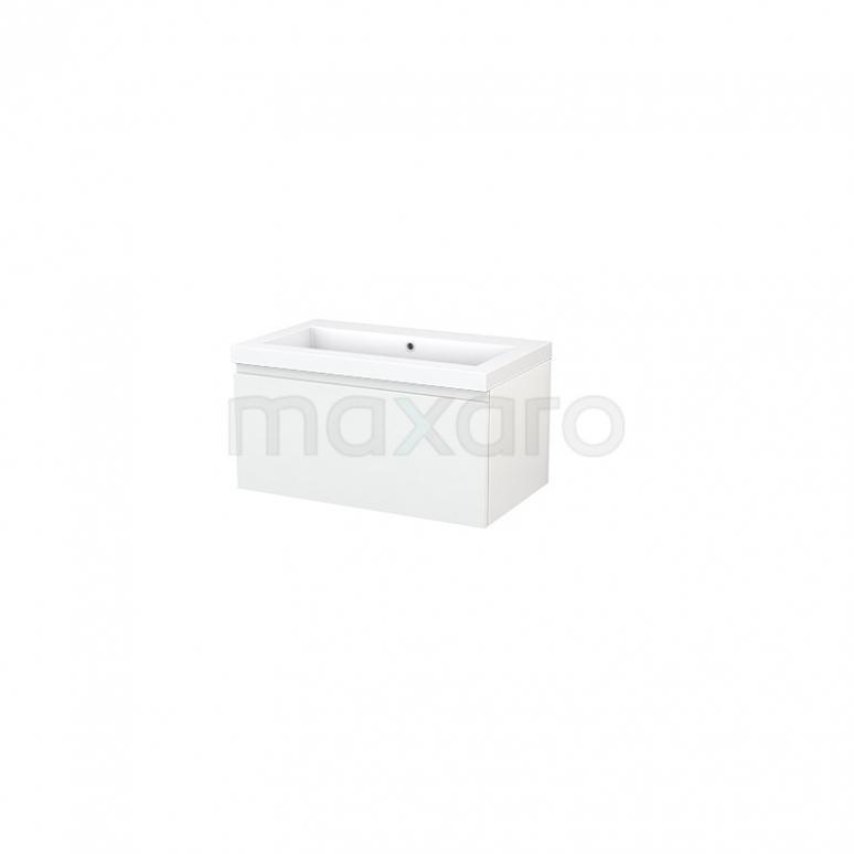 Maxaro Modulo+ BMP001406 Badkamermeubel 80cm Modulo+ Hoogglans Wit 1 Lade Greeploos Wastafel Mineraalmarmer