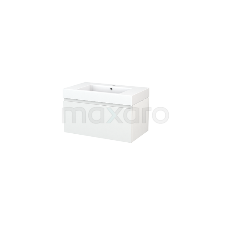 Badkamermeubel 80cm Modulo+ Hoogglans Wit 1 Lade Greeploos Wastafel Mineraalmarmer