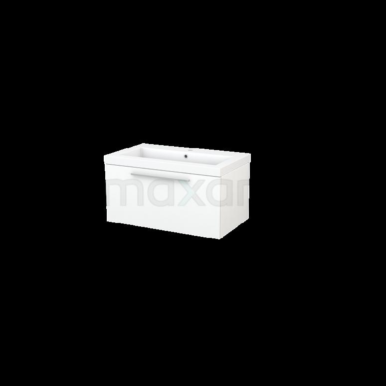 Badkamermeubel 80cm Modulo+ Mat Wit 1 Lade Vlak Wastafel Mineraalmarmer