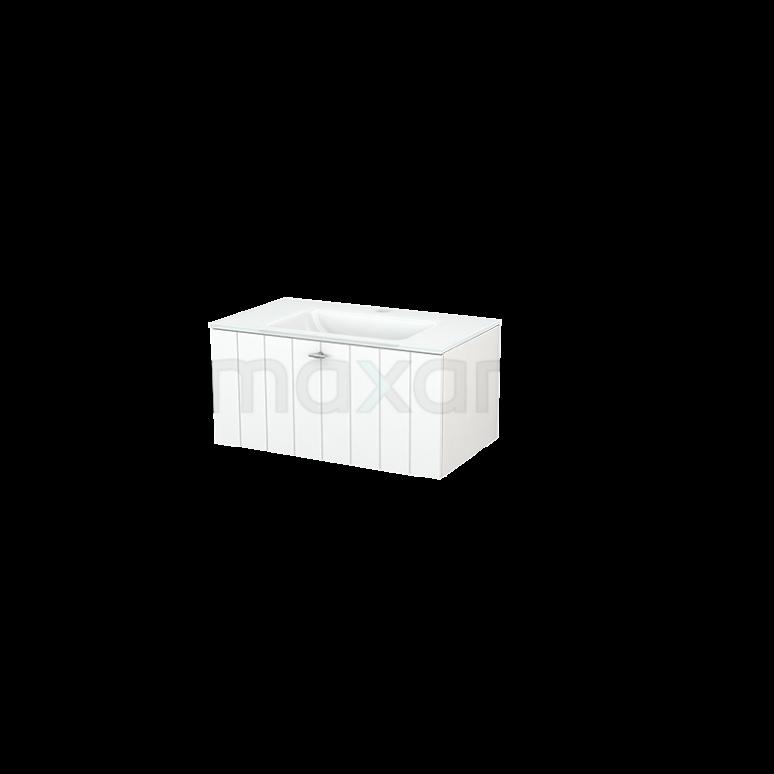 Badkamermeubel 80cm Modulo+ Mat Wit 1 Lade Lamel Wastafel Glas
