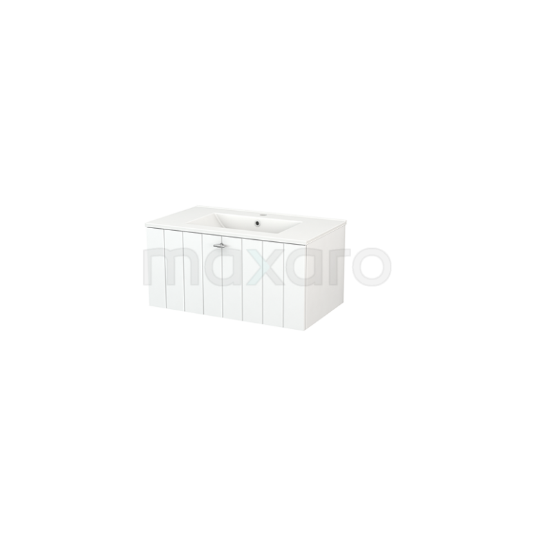 Badkamermeubel 80cm Modulo+ Mat Wit 1 Lade Lamel Wastafel Keramiek