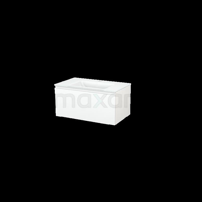 Maxaro Modulo+ BMP001444 Badkamermeubel 80cm Modulo+ Mat Wit 1 Lade Vlak Glas