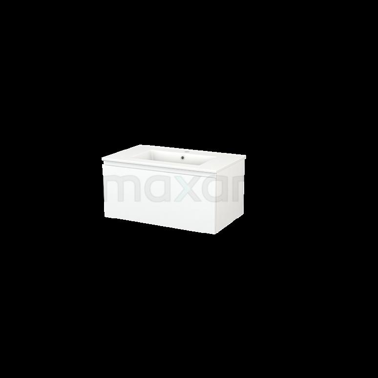 Maxaro Modulo+ BMP001451 Badkamermeubel 80cm Modulo+ Mat Wit 1 Lade Greeploos Wastafel Keramiek