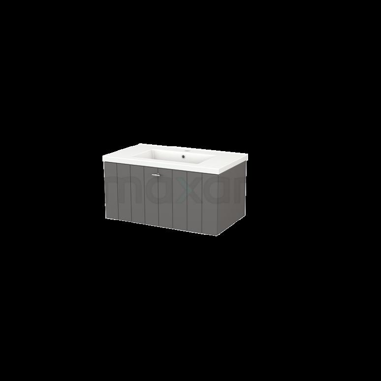 Badkamermeubel 80cm Modulo+ Basalt 1 Lade Lamel Wastafel Keramiek