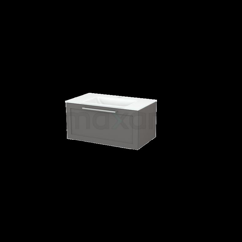 Badkamermeubel 80cm Modulo+ Basalt 1 Lade Kader Wastafel Glas