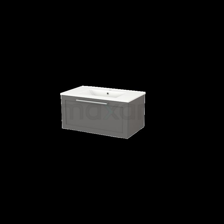 Badkamermeubel 80cm Modulo+ Basalt 1 Lade Kader Wastafel Keramiek