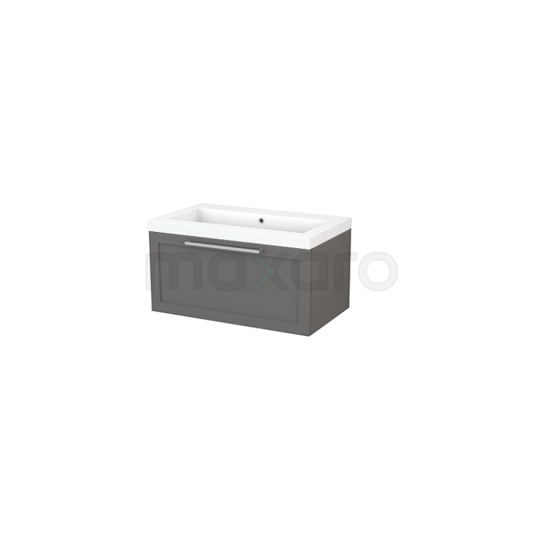 Badkamermeubel 80cm Modulo+ Basalt 1 Lade Kader Wastafel Mineraalmarmer