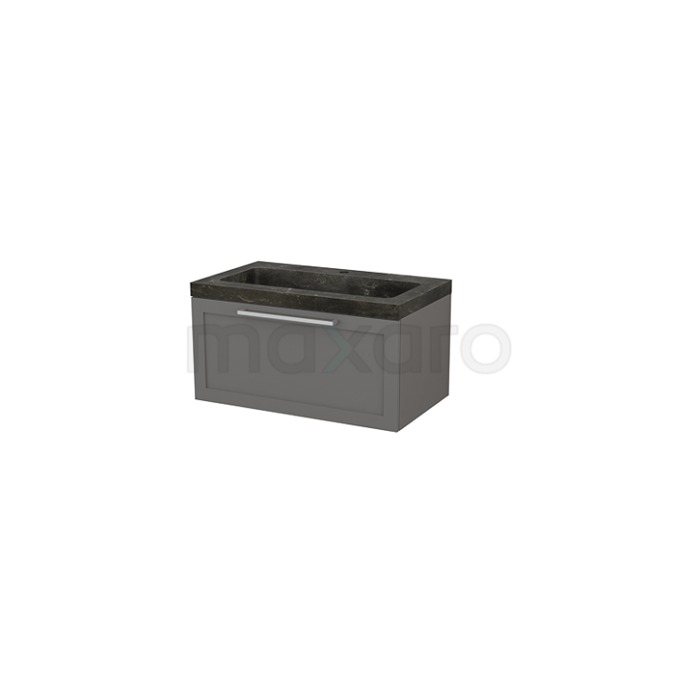 Badkamermeubel 80cm Modulo+ Basalt 1 Lade Kader Wastafel Natuursteen Blue Stone