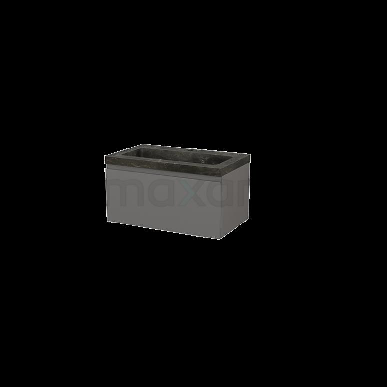 Maxaro Modulo+ BMP001488 Badkamermeubel 80cm Modulo+ Basalt 1 Lade Greeploos Wastafel Natuursteen Blue Stone