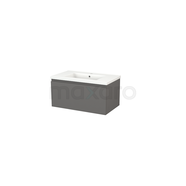 Badkamermeubel 80cm Modulo+ Basalt 1 Lade Greeploos Wastafel Keramiek