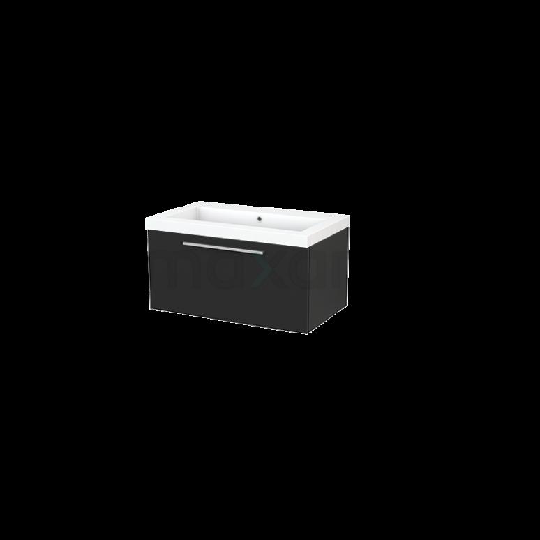 Maxaro Modulo+ BMP001496 Badkamermeubel 80cm Modulo+ Carbon 1 Lade Vlak Wastafel Mineraalmarmer