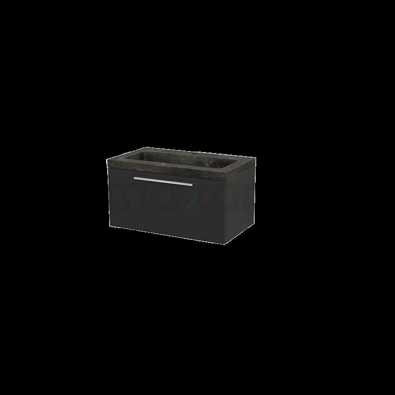 Maxaro Modulo+ BMP001498 Badkamermeubel 80cm Modulo+ Carbon 1 Lade Vlak Natuursteen Blue Stone
