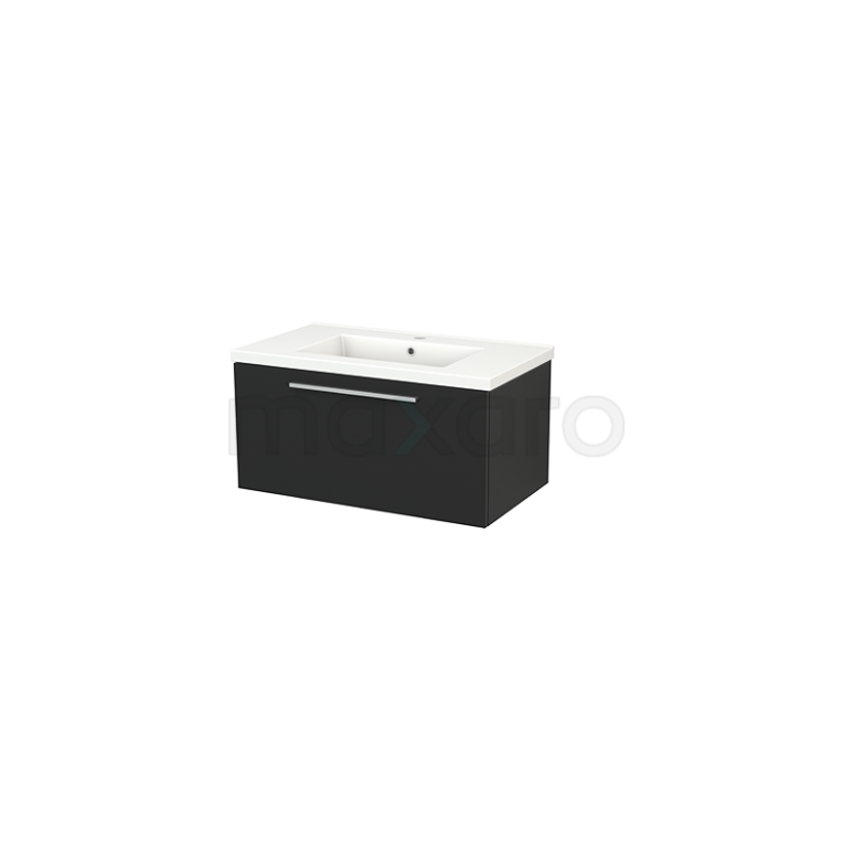 Badkamermeubel 80cm Modulo+ Carbon 1 Lade Vlak Wastafel Keramiek