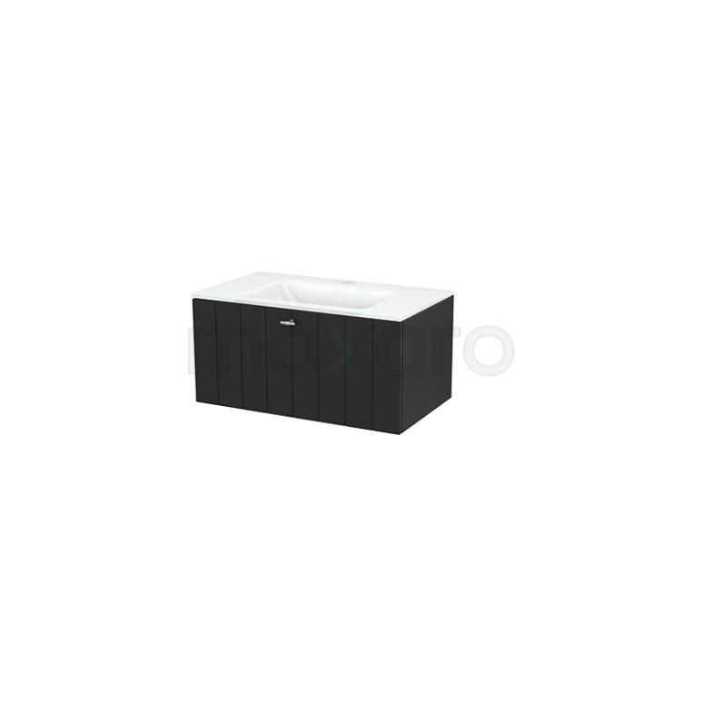 Maxaro Modulo+ BMP001504 Badkamermeubel 80cm Modulo+ Carbon 1 Lade Vlak Glas