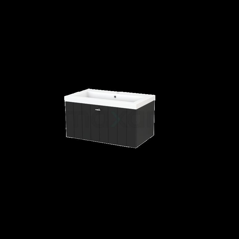 Badkamermeubel 80cm Modulo+ Carbon 1 Lade Lamel Wastafel Mineraalmarmer