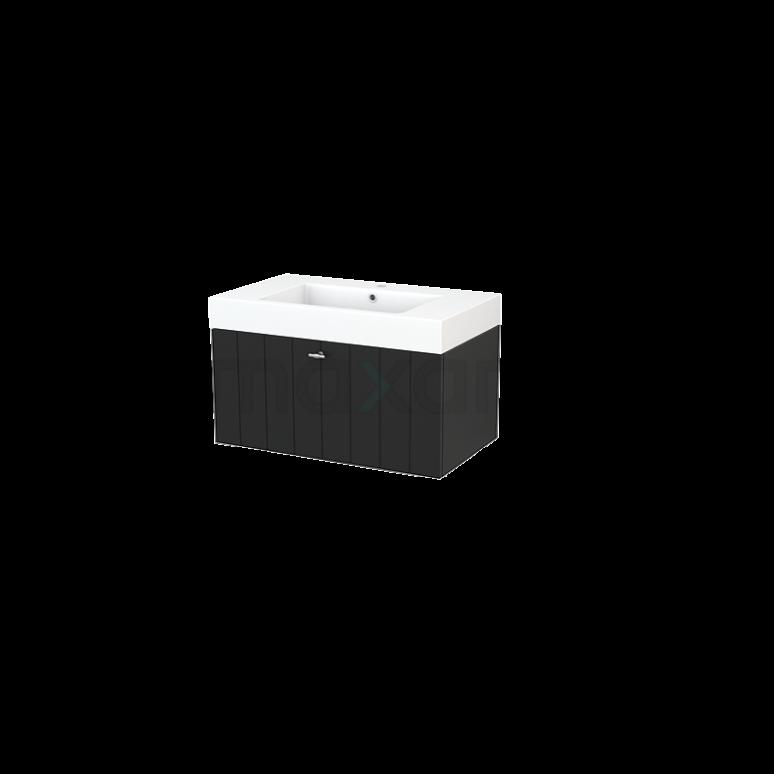 Maxaro Modulo+ BMP001510 Badkamermeubel 80cm Modulo+ Carbon 1 Lade Lamel Mineraalmarmer