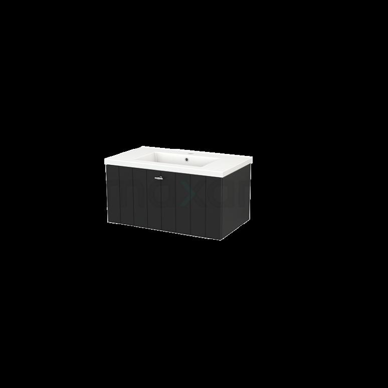 Badkamermeubel 80cm Modulo+ Carbon 1 Lade Lamel Wastafel Keramiek