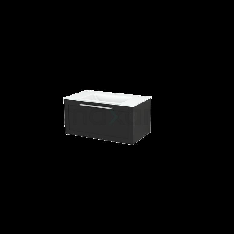 Badkamermeubel 80cm Modulo+ Carbon 1 Lade Kader Wastafel Glas
